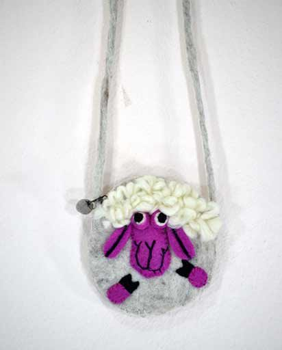 Childrens Wool Felted Sheep Bags