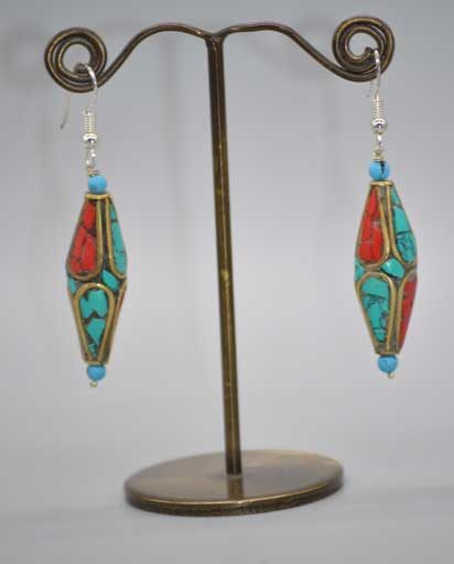 Hand Carved Stone Inlaid Earrings